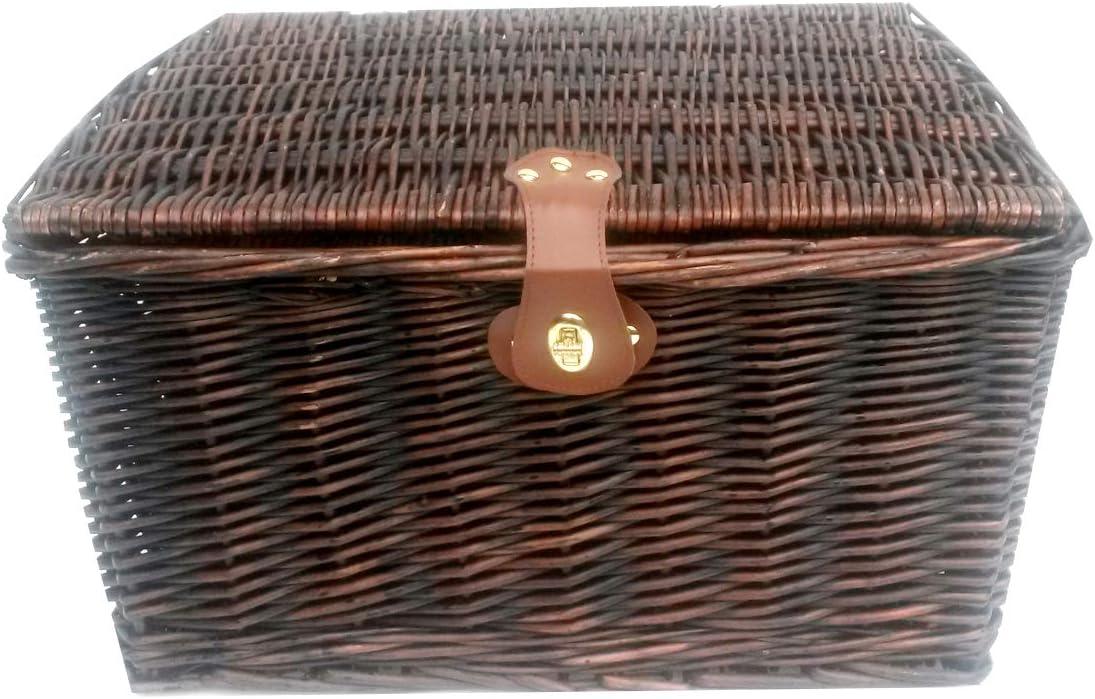Brown,Set of 2 - Small topfurnishing Strong Oak Brown Wicker Picnic Gift Storage Xmas Empty Hamper Basket Box Handle