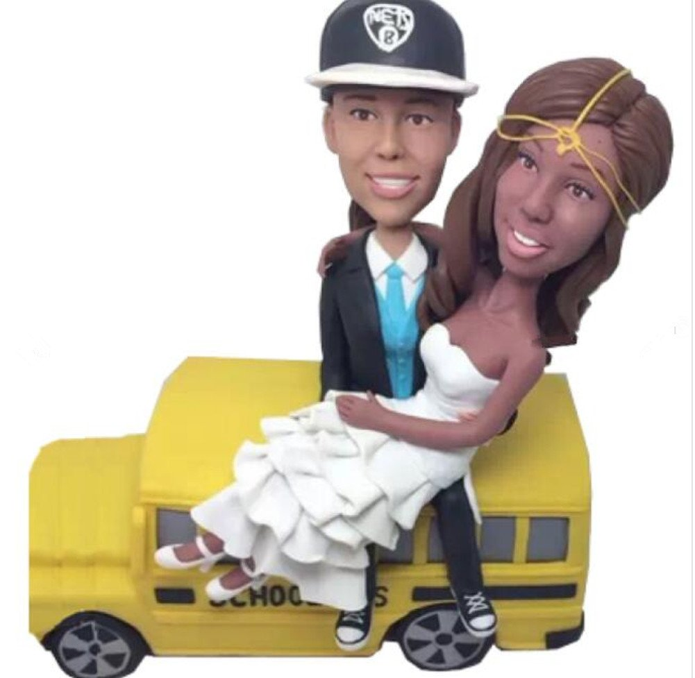 Custom Bus Driver Lesbian Wedding Bobblehead Polymer Clay Bobbleheads Cake Toppers by MiniBobbleheads