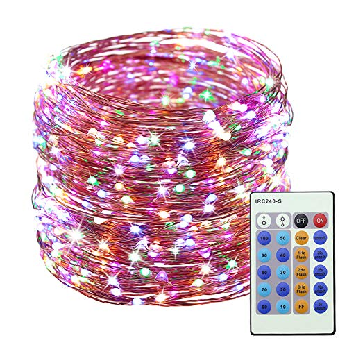LED Christmas Copper Wire Lights Decorative Fairy Lights - 99Ft 300 LED with 24-Key Controller Dimmable Waterproof Twinkle Lights, for Halloween Wedding Party Gazebo Patio Garden Indoor&O(Multi -