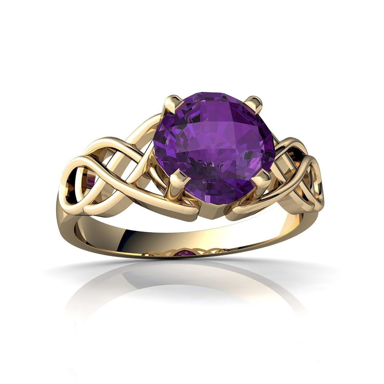 14kt Gold Amethyst 6mm Cushion Celtic Knot Ring