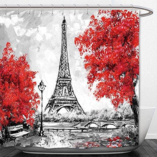 Beshowere Shower Curtain oil painting paris european city landscape france wallpaper eiffel tower black white and red