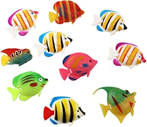 POPETPOP Fake Fish for Aquarium,20-Pack Floating Artificial Fish for Fish Tank Decorations Assorted Colors Random Pattern