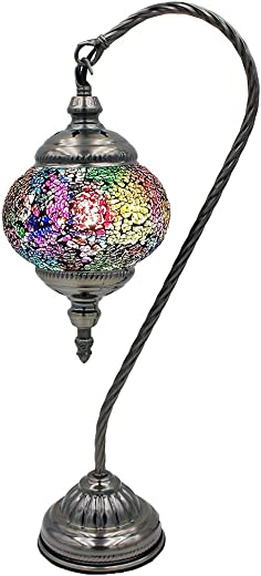 SILVERFEVER Mosaic Turkish Lamp Moroccan Glass Swan Neck Lantern for Table Desk Bedside Bronze Base Bundle with E12 Light Bulb Pastel Brights