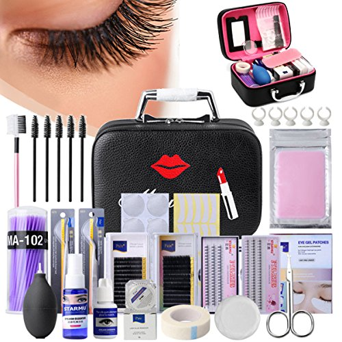 d0b13063385 Luckyfine Pro 22pcs Eyelash Extension Kits False Lashes Tool Curl Glue With  Cosmetic Case For Makeup