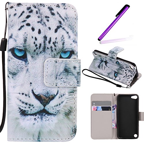 iPod Touch 5 Case,LEECOCO Fancy Paint Design Wallet Case with Card Slots Shocoproof Colorful Floral PU Leather Flip Stand Magnetic Case Cover for iPod Touch 6 with 1 Stylus Pen,Blue Eyes Tiger