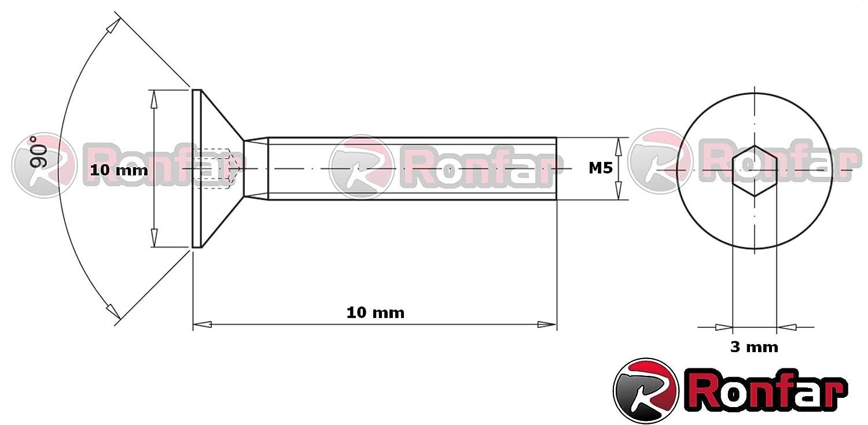 RONFAR Vis /à t/ête frais/ée /à six pans creux enti/èrement filet/ées M4 x 20 mm 50 pi/èces