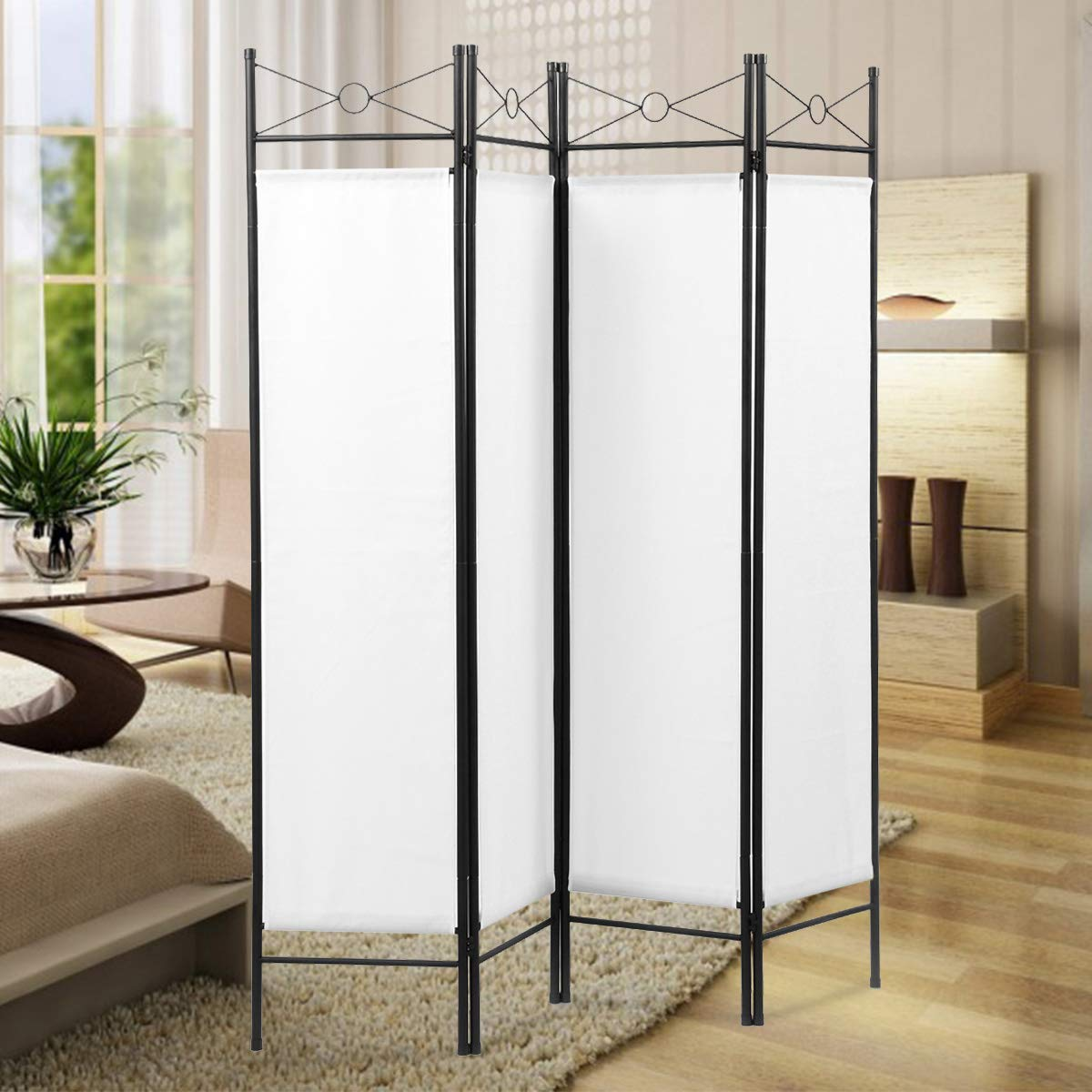 Sandinrayli 4-Panel Steel Room Divider Screen Fabric Folding Partition Home Office Privacy Screen, White: Industrial & Scientific