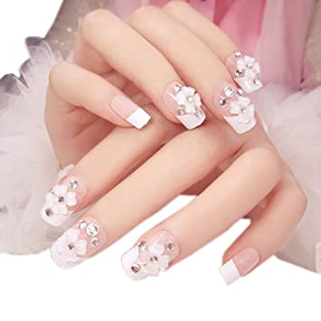Charming Wedding Bridal French Nails Fake Nail Rhinestones Art Design 13