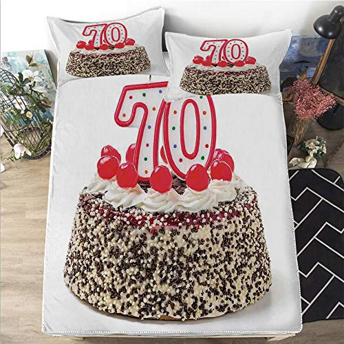 Mattress Cover King Size 3D Printed Decorative Quilted 1 Piece Coverlet Set With 2 Pillows