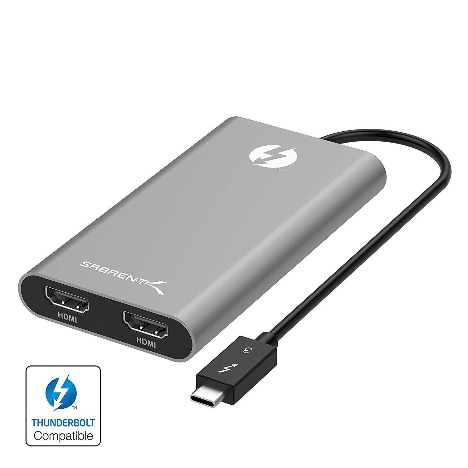 Sabrent Thunderbolt 3 to Dual HDMI Adapter [Supports Up to Two 4K 60Hz Monitors on Mac and Some Windows Systems] (TH-3HD2)