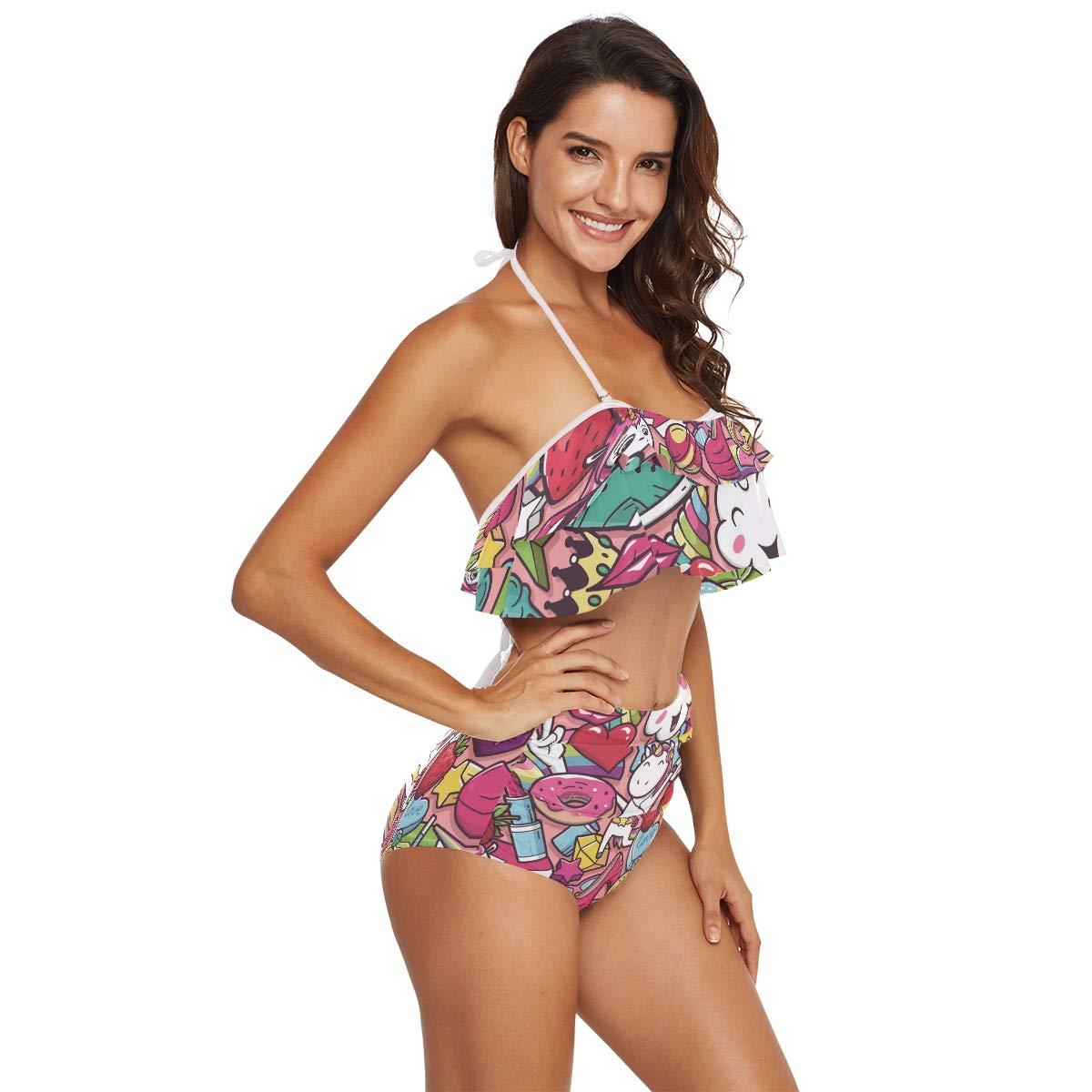 ZOEO Lemon Swimsuits Yellow Lime Tree Tropical Bikini Set Swimwear Top Bottom Bathing Suit for Girl Women