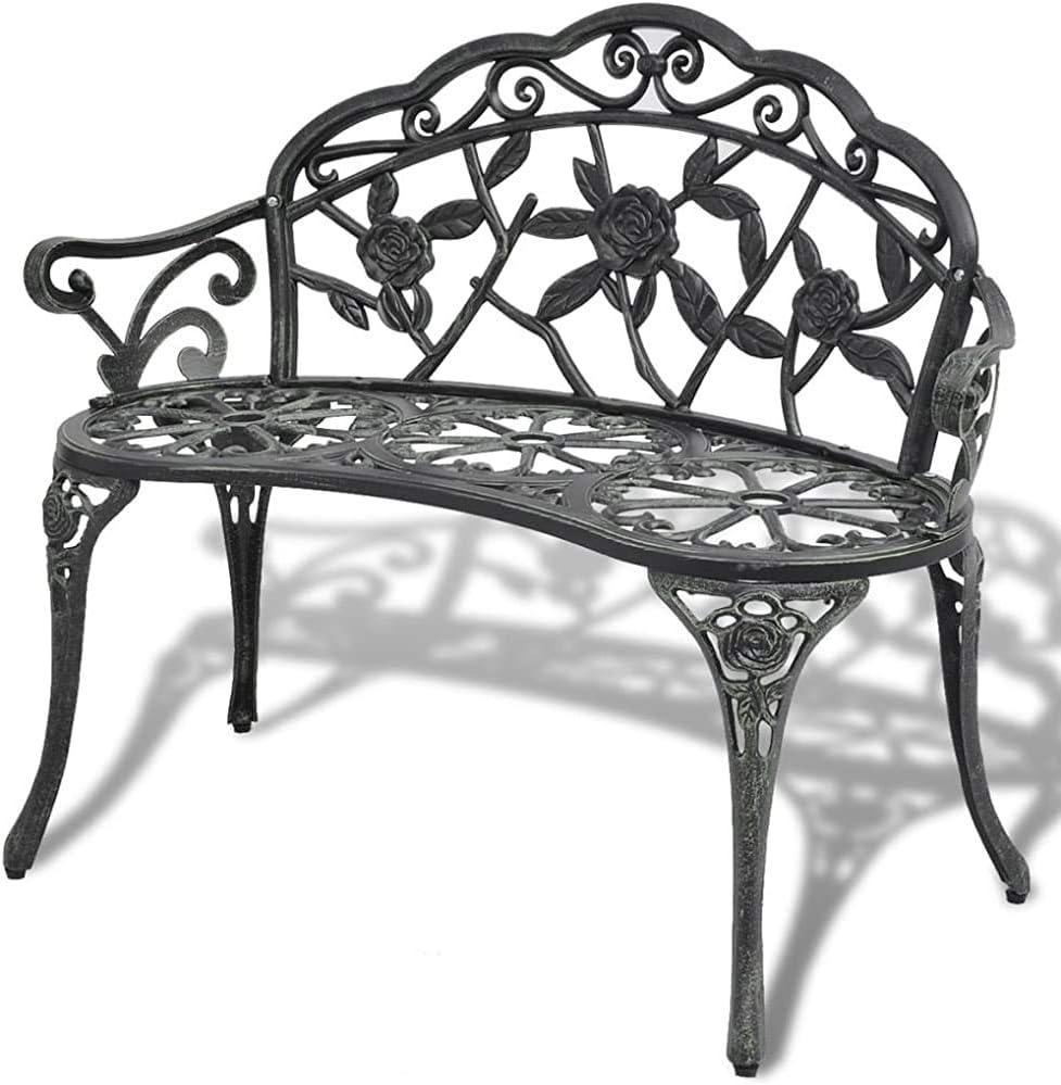 2 fundido muebles de bancos de hierro banco del parque banco del jardín de aluminio banco de jardín 100cm,Black