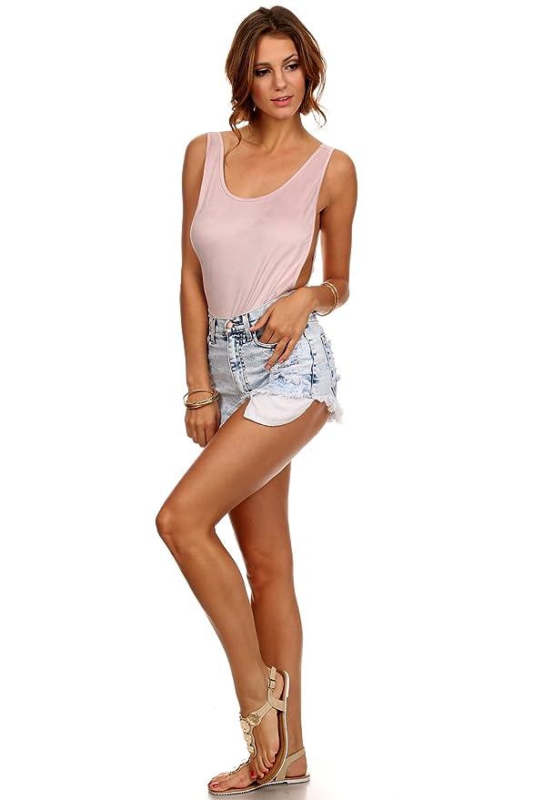 Amazon.com  MeshMe Womens Annie - Faux Suede Tank Side Boob Bodysuit   Clothing 2e68f3054
