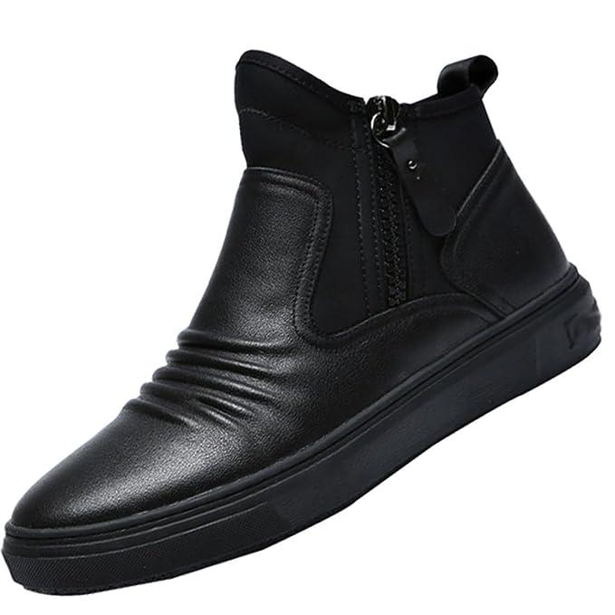 QVRGE Moda Masculina Salvaje Martin Botas Casual Zapatos Carrefour Zapatos,Black-43EU