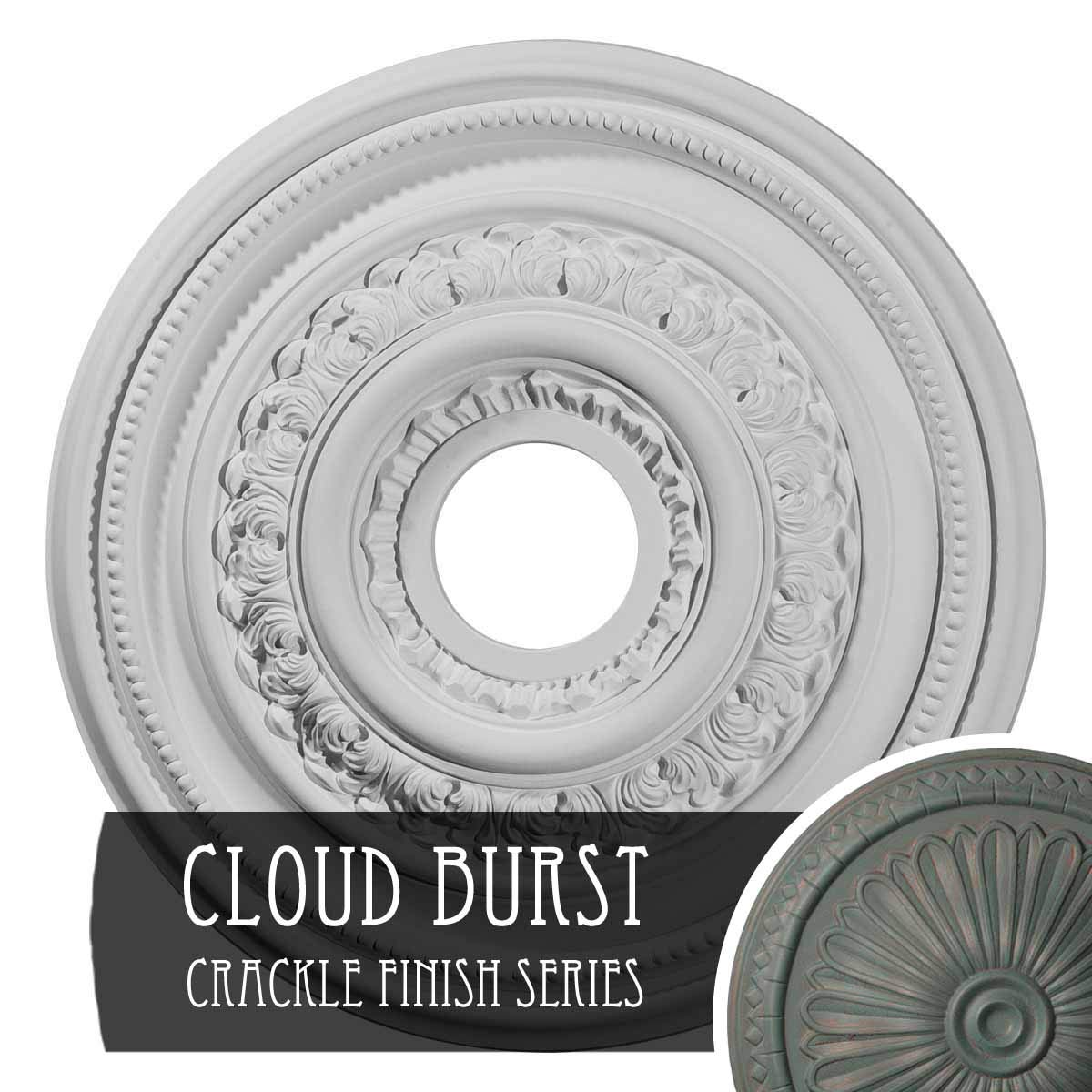 Ekena Millwork CM17OLCBC Orleans Ceiling Medallion, Cloud Burst Crackle