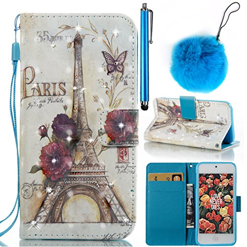 Full Body Protecive Case For iPhone 6,iPhone 6s Case,Vandot Magnetic Flip Stand PU Leather Wallet Case Protective Back Cover+Faux Fur Pompom Pendant+Universal Screen Touch Pen-[Retro Paris Eiffel] (Etoile Pendant)