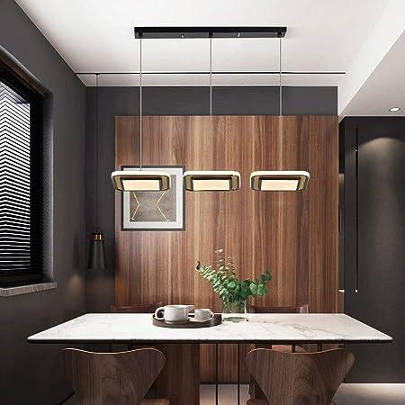 TYSYA 36W Lámpara Colgante LED 3 Luces Diseño Moderno Lámpara de Techo Decoración para Estudio Cocina Comedor Hueco de Escalera,Black,coldlight: Amazon.es: Hogar