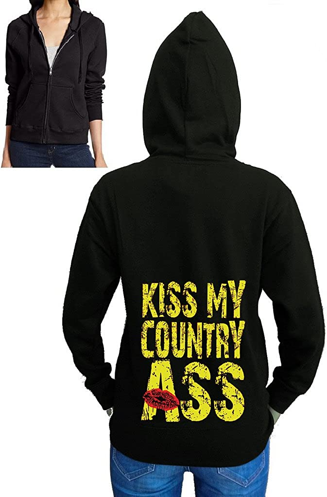 Juniors Kiss My Country Ass Black Fleece Zipper Hoodie