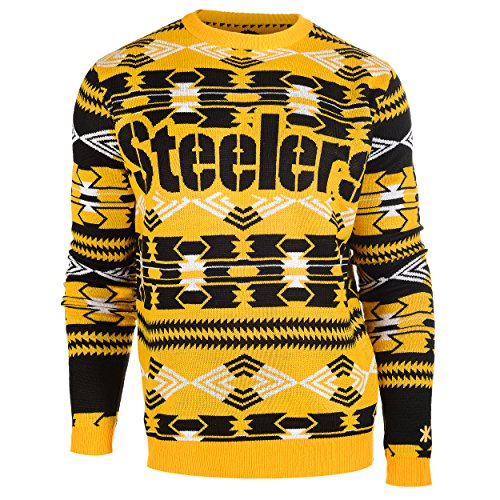 NFL Football 2015 Aztec Ugly Crew Neck Holiday Sweater - Pick Team (Pittsburgh Steelers, Medium)