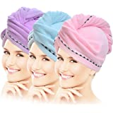 Vinker 3 Pack Hair Towel Wrap, Microfiber Quick Drying Hair Towels, Bath Dryer Caps, Bath Hair Drying Towel, Quick Dryer…