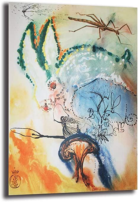 Amazon Com Salvador Dali Alice S Adventures In Wonderland Canvas Painting Oil Print Poster Wall Art Picture For Living Room Home Decor No Framed 12x18inch Posters Prints