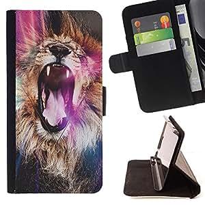 - lion purple roar yawn fur Africa abstract - - Prima caja de la PU billetera de cuero con ranuras para tarjetas, efectivo desmontable correa para l Funny HouseFOR Samsung Galaxy A3