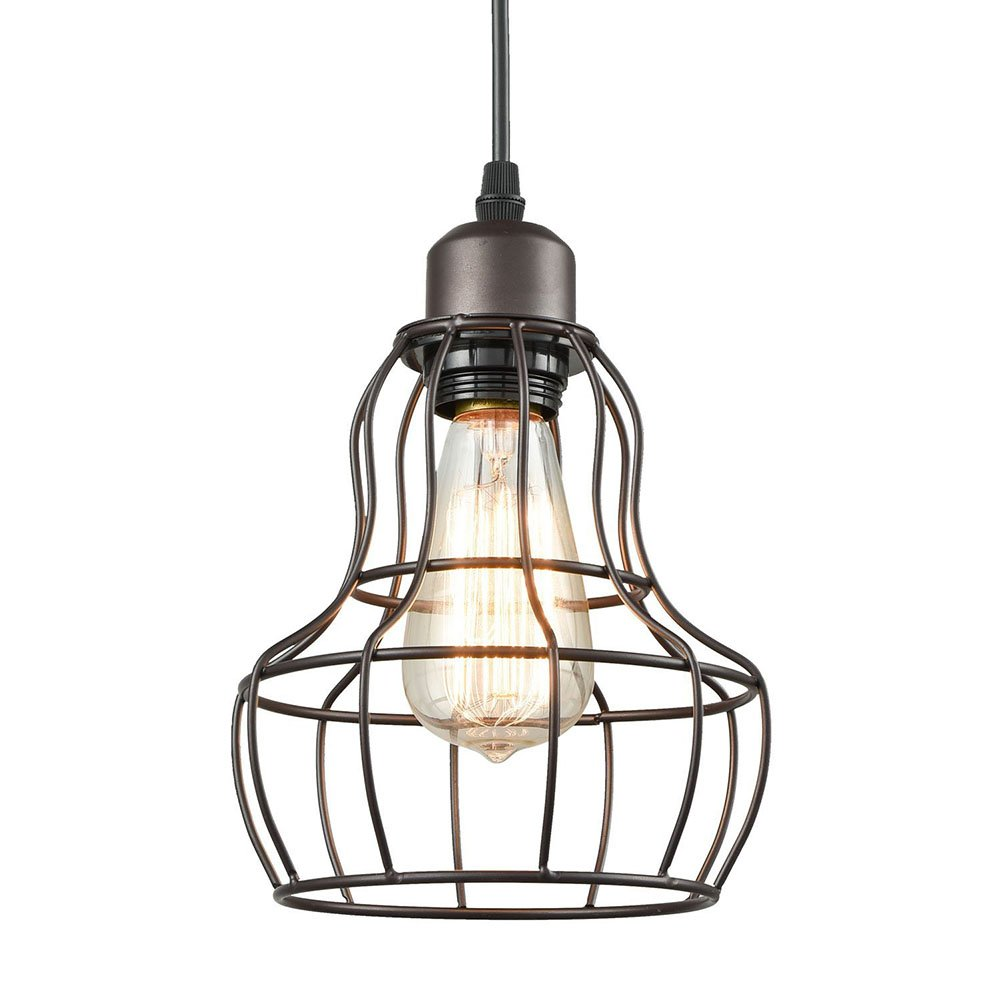 Industrial Gourd Shape Ceiling Light, SUN RUN Creative Retro Wire Cage Light Fixture Chandeliers Vintage Metal Pendant Lamp with Painted Finish for Dining Room Kitchen by SUN RUN