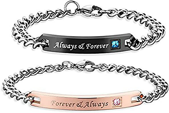 Always And Forever Bracelets For Couples Set Long Distance Bf Gf Adjustable Stainless Steel Couples Bracelets For Him Her Boyfriend Girlfriend Youth Girls Boys Pink Black Xmas V Day Gift Amazon Ca Jewelry