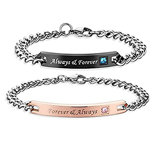 Bracelet For Couples Forever And Always Her Him BF GF Engraved Adjustable Customized Stainless Steel