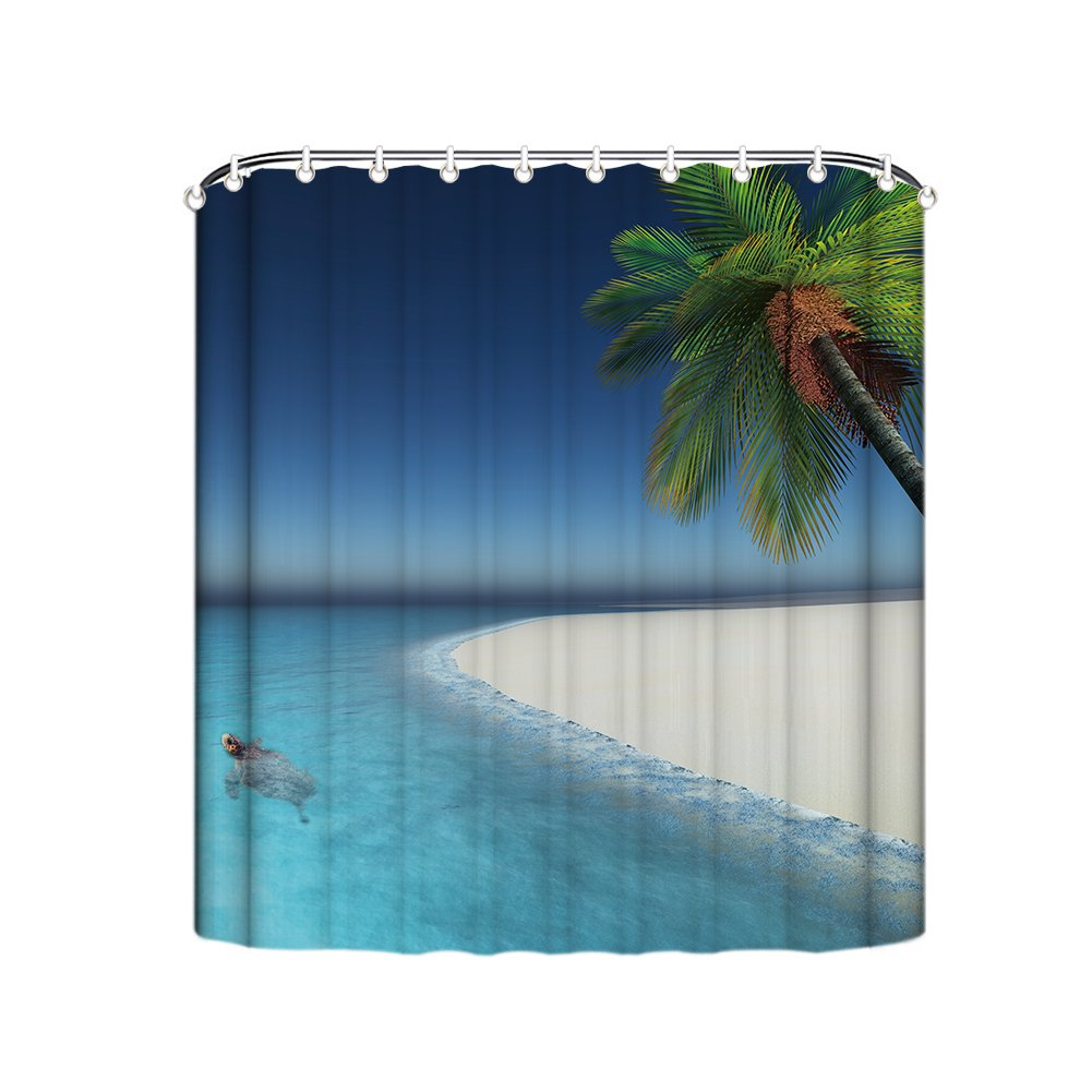 Beach Ocean Polyester Shower Curtain Liner with Hooks for Bathroom,Waterproof & Mildew Resistant- 72x72 Inch