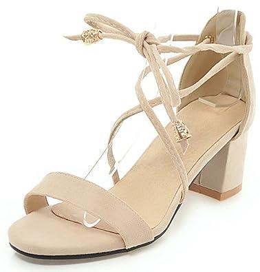 a20cadb64669 IDIFU Women s Comfy Faux Suede Open Toe Self-tie Chunky Mid Heel Sandals ( Beige