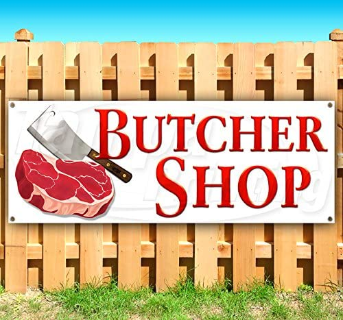 Heavy-Duty Vinyl Single-Sided with Metal Grommets Butcher Shop Now Open Extra Large 13 oz Banner Non-Fabric