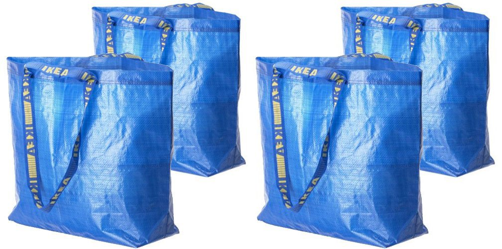 4 Ikea Frakta Shopping Bags 10 Gal Blue Tote Multi Purpose Durable Material 901.619.46