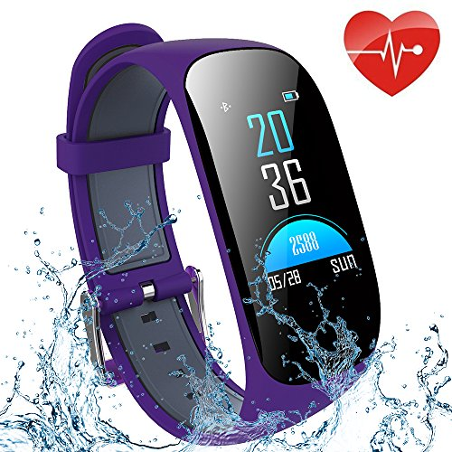 ifmeyasi Fitness Tracker, Wristband Activity Step Tracker with Heart Rate Monitor Watch, IP67 Waterproof Smart Wristband with Calorie Counter Watch Pedometer Sleep Monitor for Women Men Kids(Purple)
