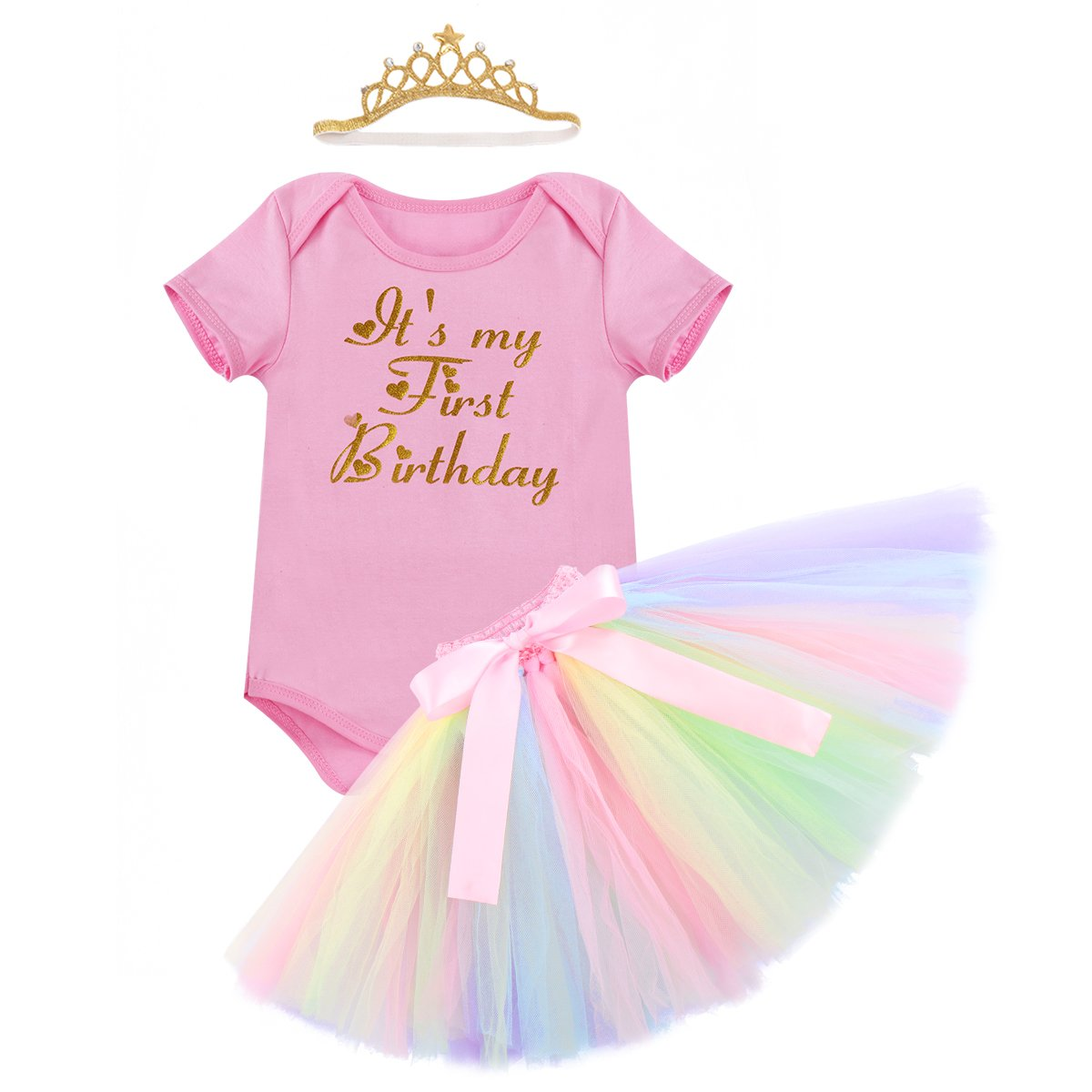 Cake Smash Outfits Newborn Baby Girls It\'s My 1st Birthday Unicorn Shiny Printed Romper Suit Sequin Dress Princess Tulle Tutu Skirt with Headband Infant Toddler Kids 3PCS Costume Set for Photo Shoot