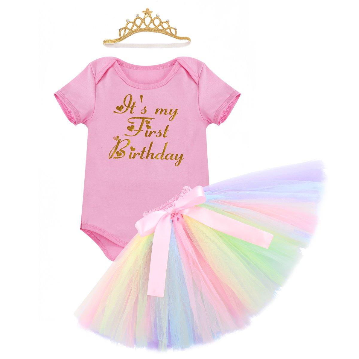 Yaphyee Baby Girls Birthday Smash Cake Outfit 3Pcs Unicorn Romper Skirt Headband