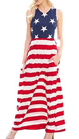 3eb8da8cc8 Womens 4th of July American Flag Star Striped Sleeveless Loose Maxi Tank  Dress US Flag M