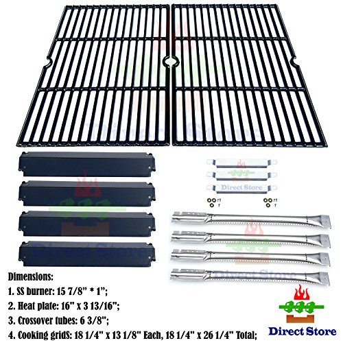 Direct store Parts Kit DG166 Replacement Charbroil Commercial Gas Grill 463268606,463268007 Repair Kit (SS Burner + SS carry-over tubes + Porcelain Steel Heat Plate + Porcelain Cast Iron Cooking (Charbroil Grate)