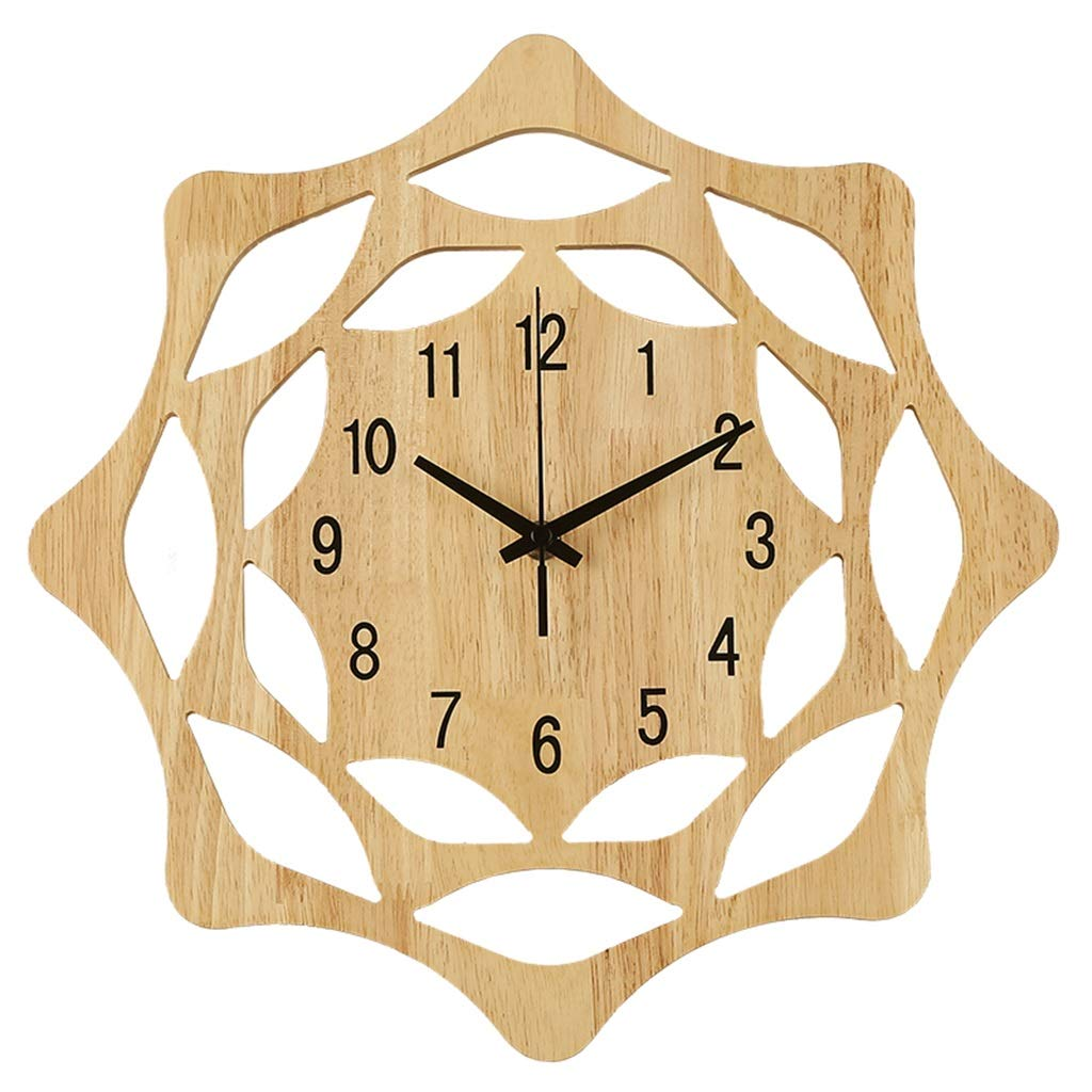 FJKAHGA Wall Clock, 35cm Wood Decorations Housewarming Clocks, Non Ticking Silent Clock for Office Living Room Bedroom Dining Room