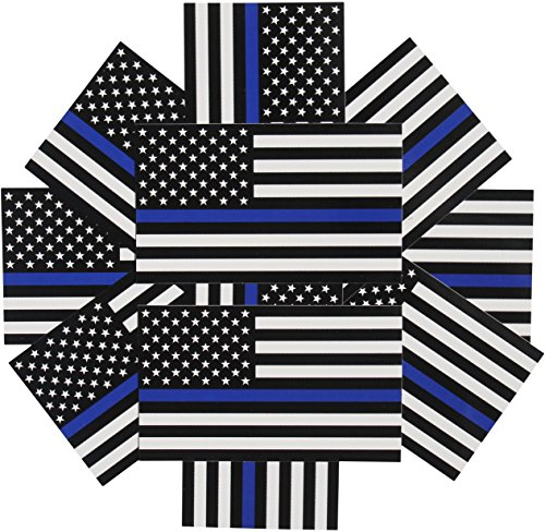 Thin Blue Line Flag Decals - 3x5 in. Black White and Blue American Flag Stickers for Cars and Trucks - in Support of Police and Law Enforcement Officers (10-Pack)