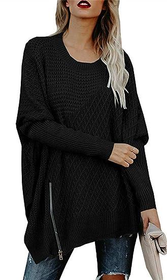 a30a5cbeea78 Flawerwumen Women Oversized Knit Sweater Batwing Sleeve Side Slit ...
