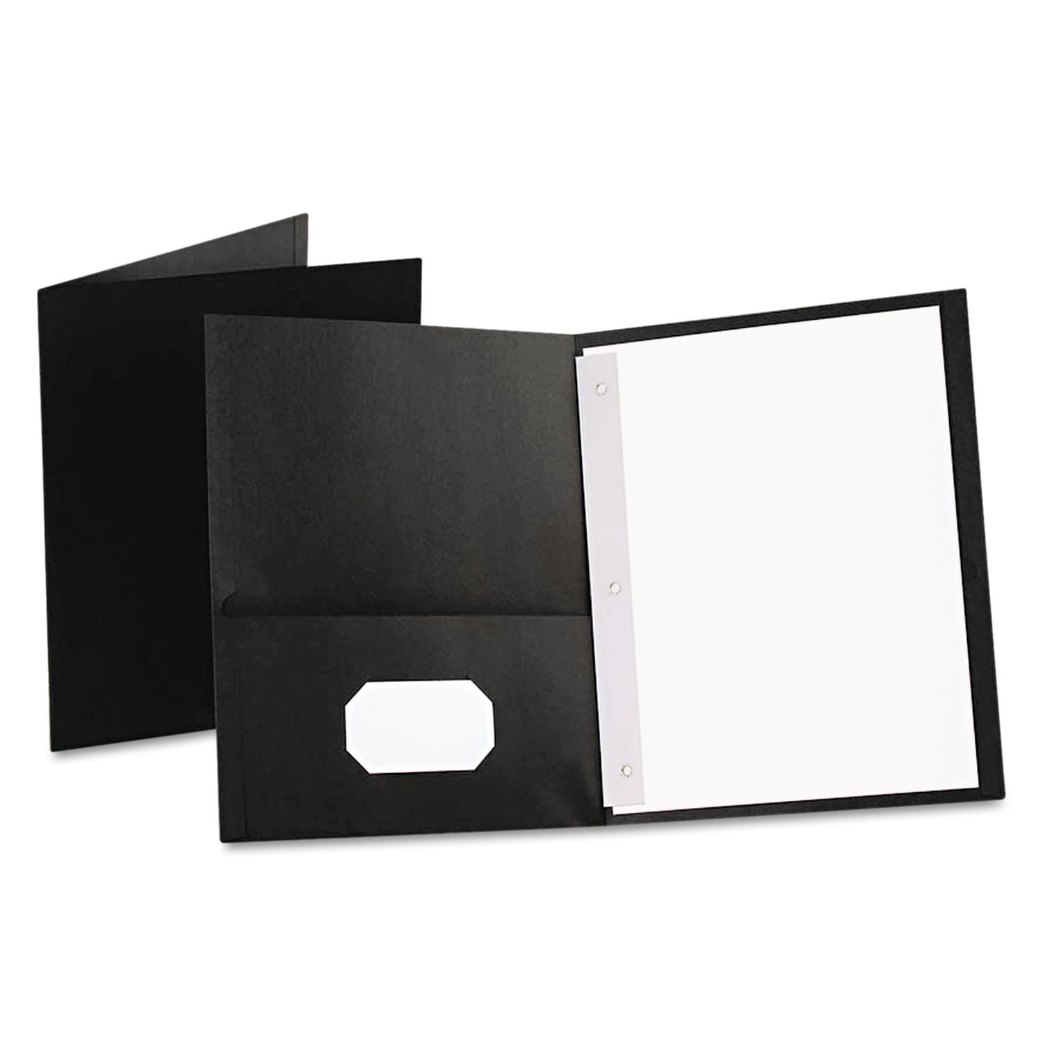 """* Twin-Pocket Folders with 3 Fasteners, Letter, 1/2"""" Capacity, Black 25/Box"""