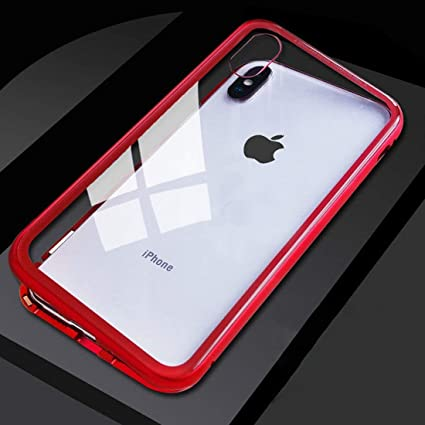 low priced f2415 3144b Magnetic Case for iPhone X, Magnetic Adsorption Case Ultra Slim Metal Frame  Tempered Glass with Built-in Magnets Metal Bumper Frame Support Wireless ...