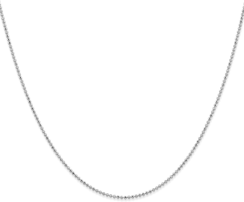 14k White Gold 1.2mm Diamond-Cut Beaded Pendant Chain Necklace Bracelet Anklet 9-24