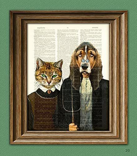 Kennel Gothic Dog and Cat illustration beautifully upcycled dictionary page book art print 'American Gothic'