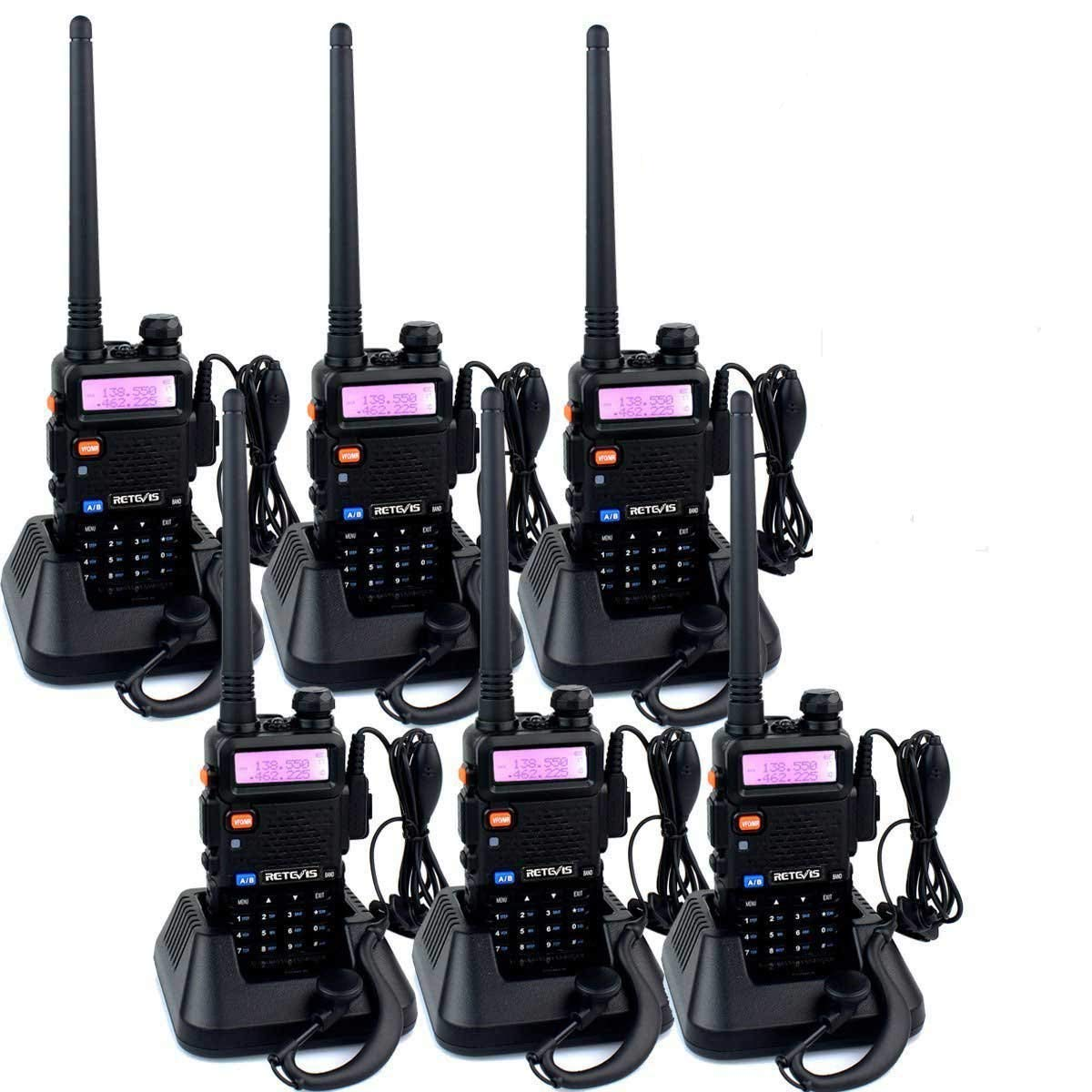 Retevis RT-5R 2 Way Radio 128CH FM UHF VHF Radio Dual Band Two-Way Radio Rechargeable Long Range Walkie Talkies for Adults 6 Pack