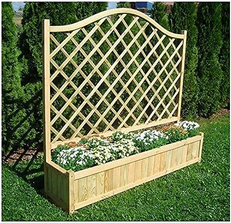 Jardín presión madera tratada madera rectangular maceta y panel trasero Entramado con enrejado de diamante ideal para plantas trepadoras y una Base sólida para plantar: Amazon.es: Jardín