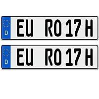 2 x historische Kfz Kennzeichen Autoschilder H Kennzeichen für Oldtimer mit individueller Prägung nach Ihren Vorgaben + KFZ Schein Schutzhülle