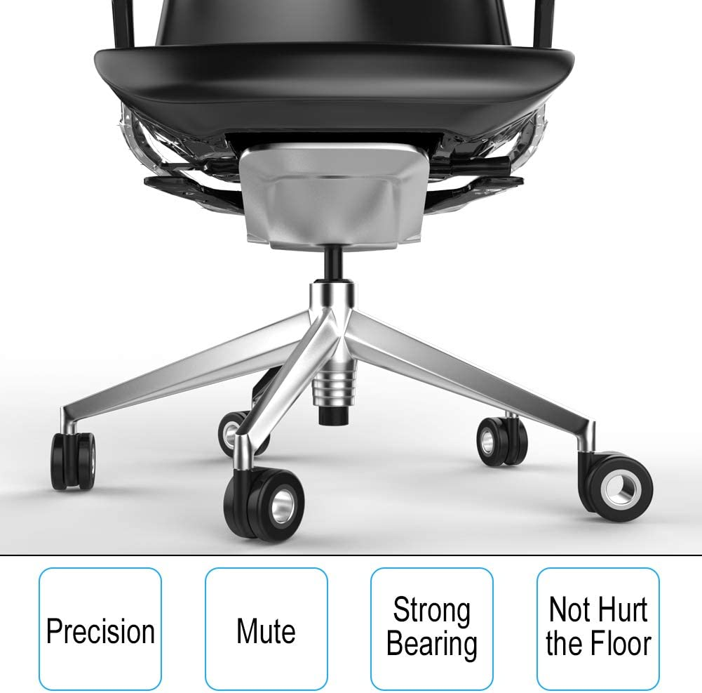 Safe for All Floors Including Hardwood Double Sided Style with Universal Fit-Free Screwdriver Heavy Duty 650 lbs Total Capacity Set of 5 Office Chair Caster Wheels
