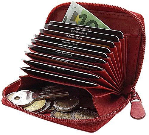 Piel tarjetero para tarjeta de crédito y cartera en una en el color de negro: Amazon.es: Equipaje